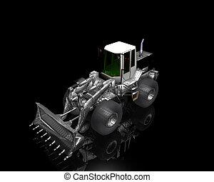 heavy building bulldozer on a black