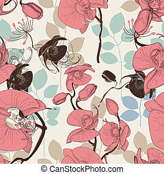 Retro pattern flower orchid vector