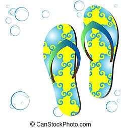 Colored flipflops. - Colored flipflops on white background....