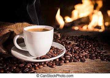 taza, caliente, café