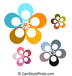 Abstract Vector Retro Flowers Set
