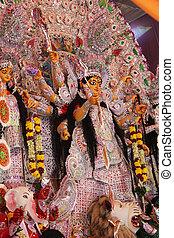 goddess pandal in durga puja - goddess durga pandal in puja