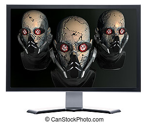 monitor with cyborg head isolated on white
