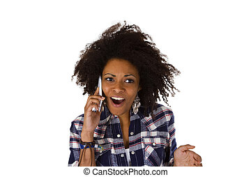 Excited african american woman with cell phone