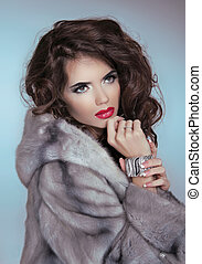 Beauty Fashion Model Girl in Mink Fur Coat. Beautiful Luxury Winter Woman Portrait