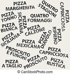 Grunge background with different pizza names