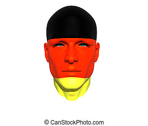 3D man head germany flag textured