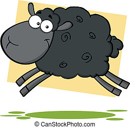 Funny Black Sheep Character Jumping