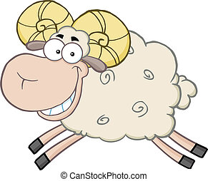 Ram Sheep Character Jumping - Smiling Ram Sheep Cartoon...