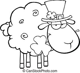Black And White Irish Sheep Carrying A Clover In Its Mouth...