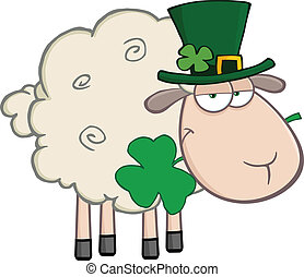 Irish Sheep Cartoon Character - Irish Sheep Carrying A...