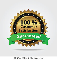 Green and Gold Customer Satisfaction Badge