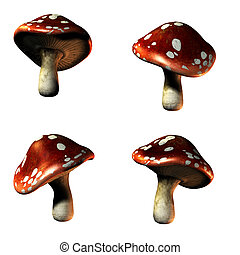 mushrooms in 3D isolated on white