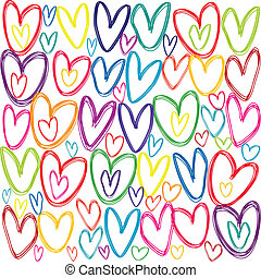 Seamless pattern with colored doodle hearts