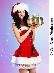 xmas girl - Portrait of a charming smiling young woman in...