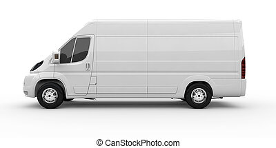 Commercial van - White commercial van isolated on a white...