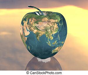 apple - european apple in the yellow sky