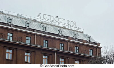 Facade of hotel Astoria in Saint Petersburg in winter day -...