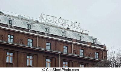 Facade of hotel Astoria in Saint Petersburg in winter day -...