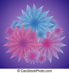 Flowers in Shades of Blue and Pink