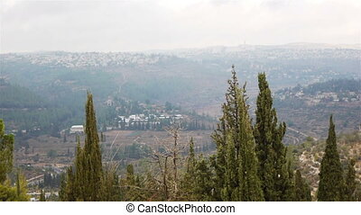 View from above on Jerusalem and green hills, Israel -...