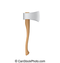 Figure steel axe with a wooden handle on white background