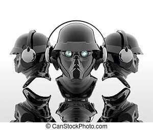 3d soldiers in a gas mask with headphone