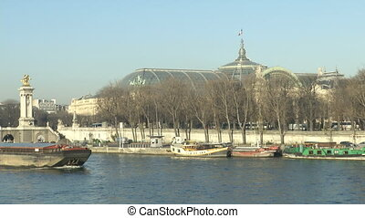 Bridge Alexandre III in Paris, with view of the Seine and a...