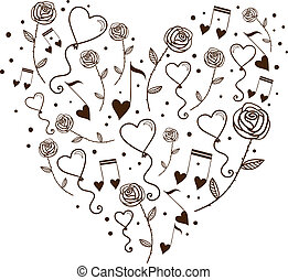 Hearts bubbles and tunes in a silhouette of heart Sketch...