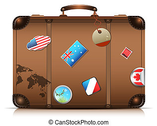 Suitcase - It's travel time.Vector illustration.