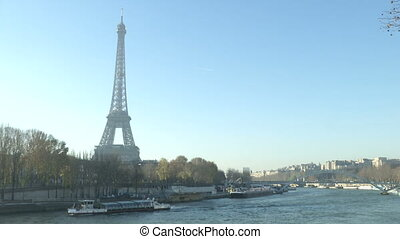 Tour Eiffel in Paris, with view of the Seine river