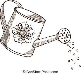 Regar, lata, flores