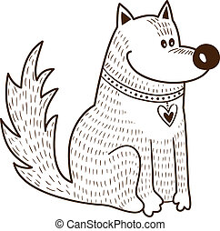 Cute character. Dog with heart on collar. Sketch vector...