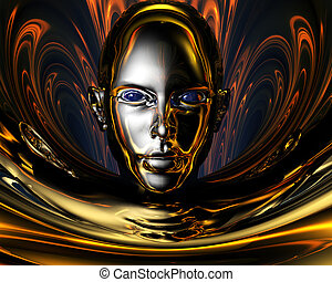 strange metal 3D girl creative background