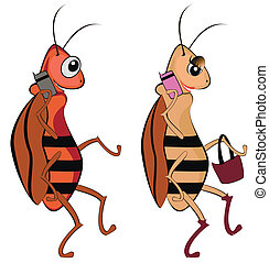 cockroaches - funny illustration of cockroaches