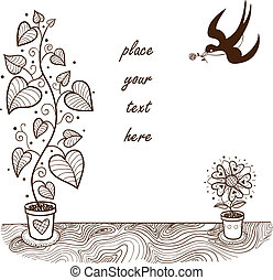 Romantic card concept. Cute flowers and swallow - Romantic...