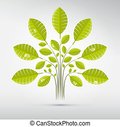 Abstract Vector Tree, Bush with Green Leaves and Water Drops...
