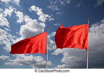rojo, banderas, Tiananmen, cuadrado, --, grande, ciudad,...