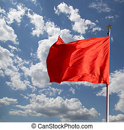 Red flags on the Tiananmen Square -- is a large city square...