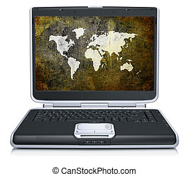 retro model of the geographical world map on laptop screen
