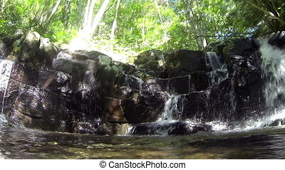 Waterfall in Slow Motion - A wide angle view of a waterfall...