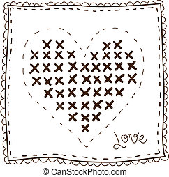 Handkerchief with embroidery heart isolated on white Sketch...