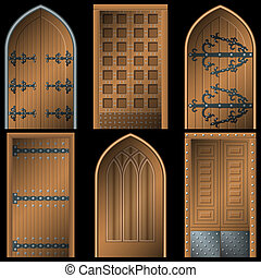 Door to the Middle Ages on a black background