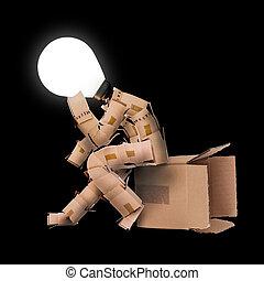 luz, bulbo, caixa, homem, personagem