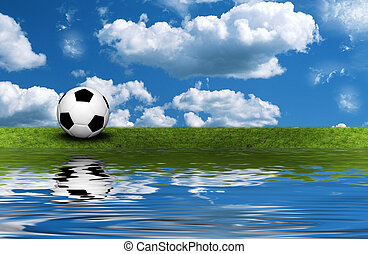 Soccer ball on the green grass with reflection