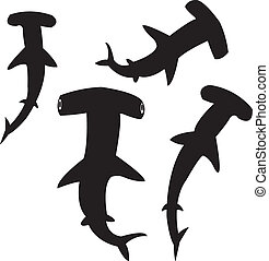 Hammerhead shark silhouettes - Vector silhouettes of...