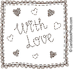 Handkerchief with embroidery - Isolated sketch vector...