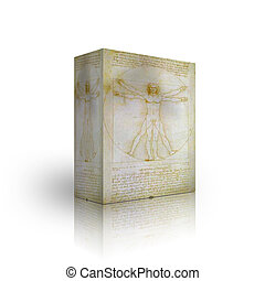 The Vitruvian Man box template on white background