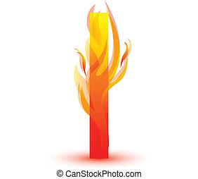 Fire I letter image design vector