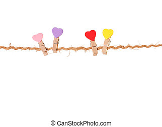Clothespins with valentines on rope - Clothespins with...
